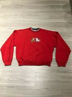 Vintage 80s Funny Furry Cats Long Sleeve Graphic Crewneck Sweatshirt Womens M