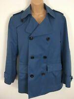 WOMENS AQUASCUTUM BLUE COTTON DOUBLE BREASTED SMART PEA COAT SIZE EU 36R UK 8