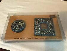 Bombay Company Blue Peacock Hand Beaded Picture Frame & Trinket Box