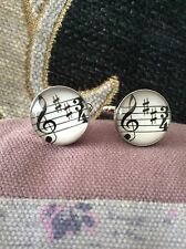 FREE GIFT BAG Mens Silver Music Treble Clef Notes Cufflinks Cuff Links Jewelry