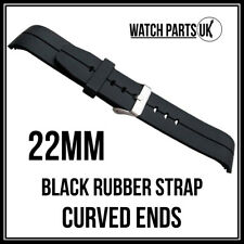 • 22mm Curved Black Silicone Rubber Watch Strap + Stainless Steel Buckle 22mm •