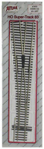Atlas HO Scale Code 83 #6 Left-Hand Super Turnout/Switch Model Train Track