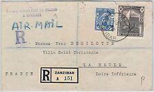 ZANZIBAR  -  POSTAL HISTORY - Registered Airmail COVER to FRANCE - 1945