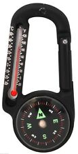 Black Carabiner with Compass and Thermometer Rothco 6500