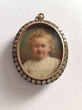 Antique Victorian Double Portrait Miniature Pendant Locket Set Pastes