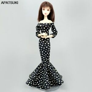 """Black Polka Dot Fishtail Wedding Dress for 11.5"""" Doll Outfits Clothes Party Gown"""
