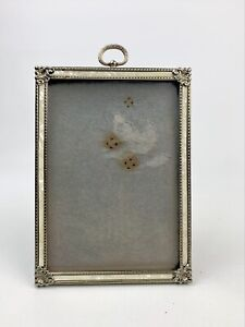 VINTAGE BRASS PICTURE FRAME 5X7 FAUX MOTHER OF PEARL INLAY FILIGREE GOLD METAL
