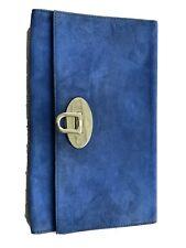 Mulberry Blue Suede Oversized Ava Clutch Envelope Bag Gold Hardware Handbag