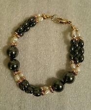 Rice Pearl Hematite Bead Triple Strand Bracelet Gold Tone Spacers Vintage