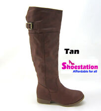 Women's Shoes Knee High Motorcycle Riding Boots Military Flat Slouch Size 5 - 7
