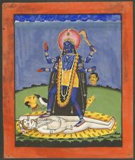 Antique Indian Miniature Painting - Kali Stands Over Shiva Kalighat 19th Hindu