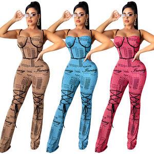 Fashion Clubwear women Spaghettii strap scoop neck sleeveless bodycon jumpsuit