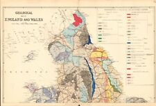 1890 Ca ANTIQUE MAP - GEOLOGICAL MAP OF ENGLAND AND WALES, NORTH & SOUTH, 2 MAPS
