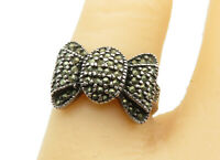 925 Sterling Silver - Vintage Marcasite Bow Tie Designed Band Ring Sz 5 - R11936