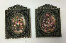 Vintage Brass Framed Ornate Homco Wall Hangings