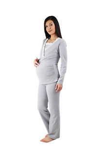 Stillpyjama Set Damen Schlafanzug für Schwangerschaft Nachtwäsche Stillfunktion