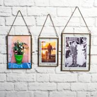 2/set Antique Brass Glass Picture Photo Frame Holder Wall Hanging Portrait