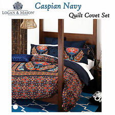 New LOGAN and MASON CASPIAN NAVY KING Mediterranean Quilt Donna Duvet Cover Set