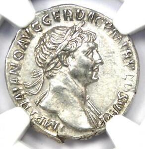 Roman Empire Trajan AR Denarius Silver Coin 98-117 AD - Certified NGC Choice AU