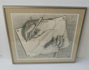 "M.C. (Maurits Cornelis) Escher 1948 Etching ""Drawing Hands"" Print Matted Framed"