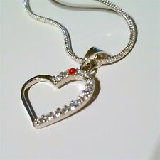 """LOVELY 925 SILVER CHAIN AND HEART PENDANT, 17 1/2"""" LONG"""
