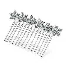 Elegant Crystal Flower Design 5cm Metal Wire Hair Comb Wedding Prom Races