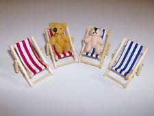 Liegestuhl,blau-weiß-gestreift,Maßstab 1:12,Miniatur f.d Puppenstube//Garten #02#