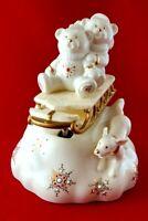 "Lenox China Jewels Musical Figurine ""Teddies on Sleigh"" Plays ""Jingle Bells"""