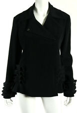 GIORGIO ARMANI Black Crepe Origami Ruffled Trim Zip Blazer Jacket 46