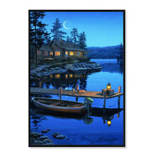 LED Lighted Painting Crescent Bay Moon by Darrell Bush Canvas Art For Home Decor