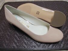 New ANNE KLEIN Women Patent Leather Taupe Round Toe Med Block Heel Shoes sz 8 M