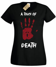 A Touch Of Death T-Shirt gothic rock punk hand print Womens Ladies