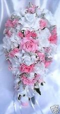 Wedding bouquets 21 piece package Bridal bouquet Silk flowers PINK SILVER set