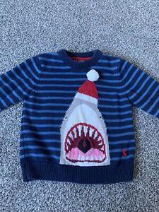 Joules Baby Toddler Boy Shark Jumper 12-24 Months Navy Blue Stripes