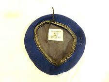 OLD CARL ISKEN GERMAN ARMY BLUE  BERET LEATHER TRIM SIZE 57