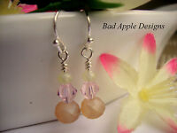 Pink Crystal Matte Mauve Peach Silver Dangle Earrings Bridal Bridesmaid Holiday