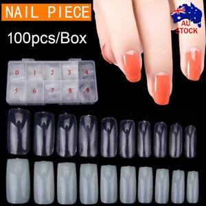 100Pcs Fake Nails French Tips White Clear Stiletto False Gel Pointy Art Acrylic