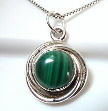 Small Malachite Cabochon 925 Sterling Silver Pendant with Swirled Border New