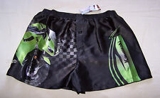 Kawasaki Ninja Mens Black Green Printed Satin Boxer Shorts Size L New