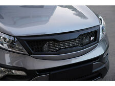 Front Hood Radiator Grill Ver.2 Plastic, Black & 9P For 11-15 Kia Sportage