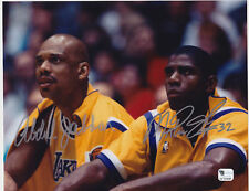 MAGIC JOHNSON KAREEM ABDUL JABBAR Signed 8x10 Photo GAI
