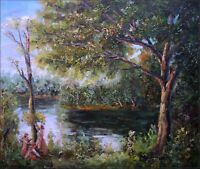 Quality Hand Painted Oil Painting Mother & Children in a Landscape 20x24in
