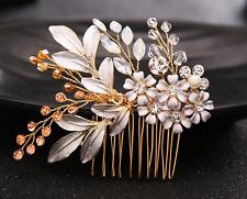 New Gold Rhinestone Crystal Flower Bridal Princess Hair Comb for Wedding