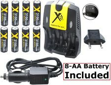 Ultra Hi 8-AA Battery With AC-DC Dual Turbo Charger For FujiFilm FinePix S9900