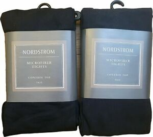 Nordstrom Women Microfiber Tights, Control Top, Black, Tall, Italy Made, *NEW*