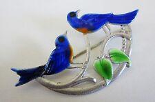 VINTAGE 1940s TRUART BLUEBIRD DUO BROOCH STERLING SILVER & ENAMEL 7.3g