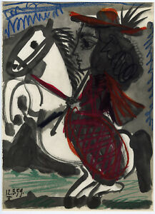 Vintage 1961 Pablo Picasso Toros y Toreros Bullfighter Sketchbook Fine Art Print