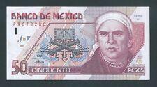 F.C. MEJICO MEXICO , 50 PESOS 1996 , S/C- ( AUNC ) , PICO DOBLADO , P.107b .