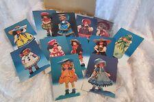 Italian LENCI doll post card album w/duplicate set of 12 post cards, 1 1985 card