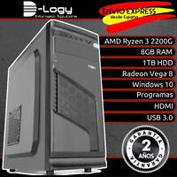 D-Logy Ordenador rapido PC AMD Ryzen 3 2200G 8GB 1TB Radeon Vega 8 Windows 10
